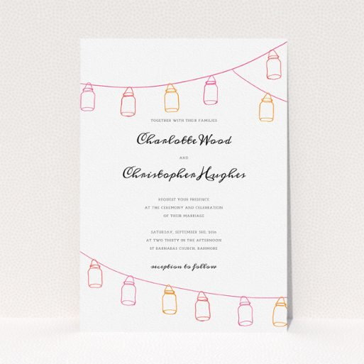 """A personalised wedding invitation template titled """"In a jar"""". It is an A5 invite in a portrait orientation. """"In a jar"""" is available as a flat invite, with tones of white and orange."""