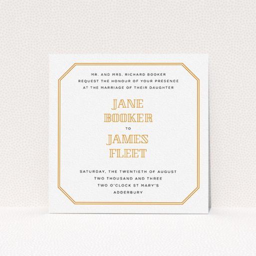 """A personalised wedding invitation called """"In between the lines square"""". It is a square (148mm x 148mm) invite in a square orientation. """"In between the lines square"""" is available as a flat invite, with tones of orange and white."""