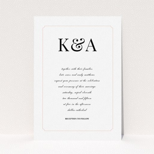 """A personalised wedding invitation named """"Initials here"""". It is an A5 invite in a portrait orientation. """"Initials here"""" is available as a flat invite, with tones of white and pink."""