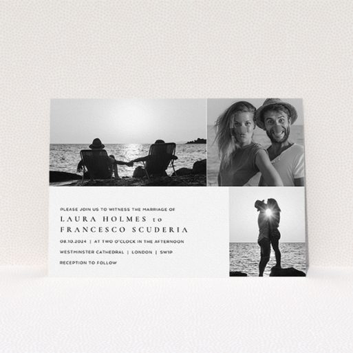 """A personalised wedding invitation template titled """"Italicised"""". It is an A5 invite in a landscape orientation. It is a photographic personalised wedding invitation with room for 3 photos. """"Italicised"""" is available as a flat invite, with mainly white colouring."""