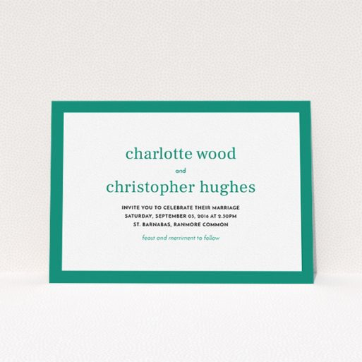 """A personalised wedding invitation design titled """"Laydown simple"""". It is an A5 invite in a landscape orientation. """"Laydown simple"""" is available as a flat invite, with tones of green and white."""