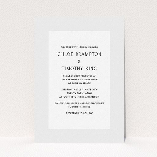 """A personalised wedding invitation called """"Light Grey"""". It is an A5 invite in a portrait orientation. """"Light Grey"""" is available as a flat invite, with tones of grey and white."""