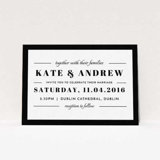 """A personalised wedding invitation design called """"Lines with a thick border"""". It is an A5 invite in a landscape orientation. """"Lines with a thick border"""" is available as a flat invite, with tones of black and white."""