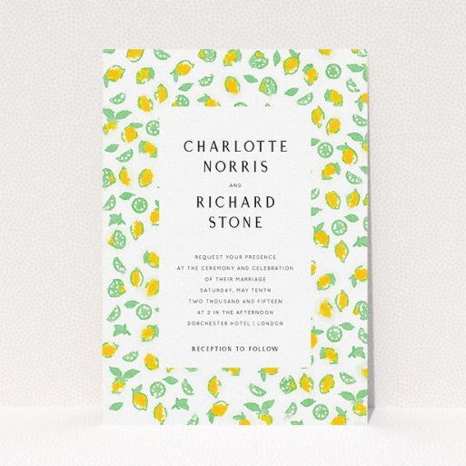 """A personalised wedding invitation design named """"Madeira"""". It is an A5 invite in a portrait orientation. """"Madeira"""" is available as a flat invite, with tones of green and yellow."""