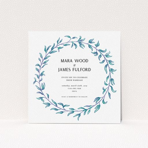 """A personalised wedding invitation design called """"Marine Wreath"""". It is a square (148mm x 148mm) invite in a square orientation. """"Marine Wreath"""" is available as a flat invite, with tones of blue and green."""