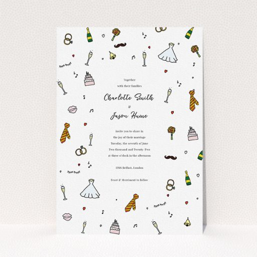 """A personalised wedding invitation called """"Matrimonial Doodles"""". It is an A5 invite in a portrait orientation. """"Matrimonial Doodles"""" is available as a flat invite, with tones of white, red and yellow."""