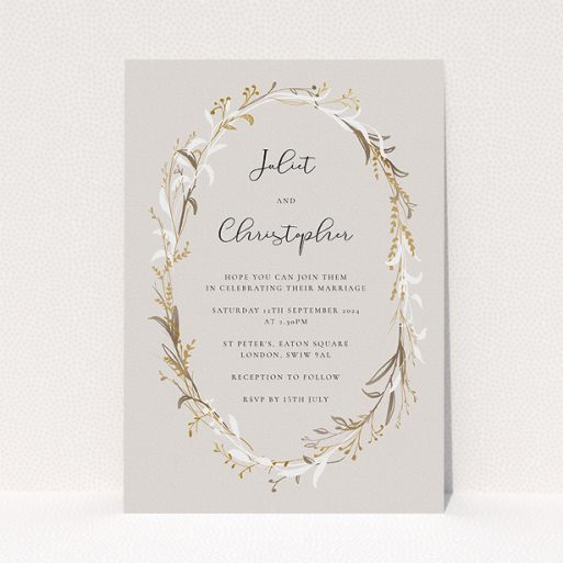 """A personalised wedding invitation design called """"Metallic Wreath"""". It is an A5 invite in a portrait orientation. """"Metallic Wreath"""" is available as a flat invite, with tones of dark cream and gold."""