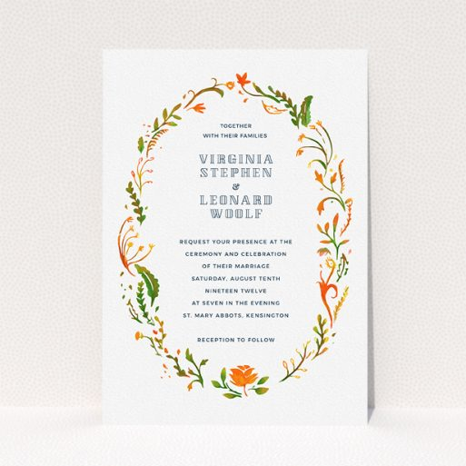"""A personalised wedding invitation template titled """"Midsummer Wreath"""". It is an A5 invite in a portrait orientation. """"Midsummer Wreath"""" is available as a flat invite, with tones of orange, green and yellow."""