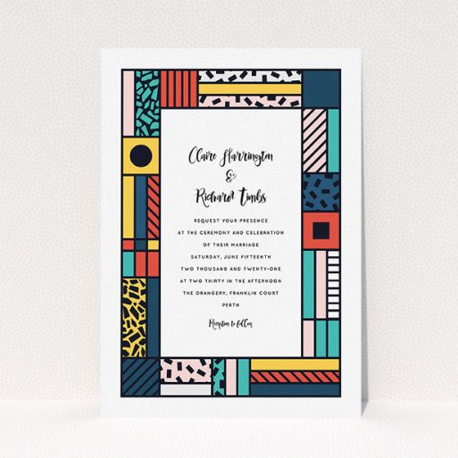 """A personalised wedding invitation design titled """"Mondrian-esque"""". It is an A5 invite in a portrait orientation. """"Mondrian-esque"""" is available as a flat invite, with tones of white and pink."""