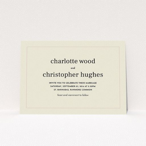 """A personalised wedding invitation template titled """"Nice and square"""". It is an A5 invite in a landscape orientation. """"Nice and square"""" is available as a flat invite, with mainly dark cream colouring."""