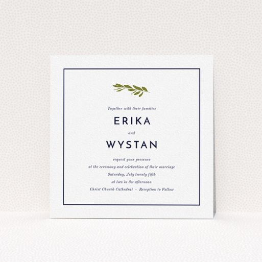 """A personalised wedding invitation design named """"Olive branch stamp"""". It is a square (148mm x 148mm) invite in a square orientation. """"Olive branch stamp"""" is available as a flat invite, with tones of white and green."""