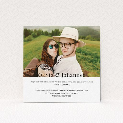 """A personalised wedding invitation design called """"On the fence"""". It is a square (148mm x 148mm) invite in a square orientation. It is a photographic personalised wedding invitation with room for 1 photo. """"On the fence"""" is available as a flat invite, with mainly white colouring."""