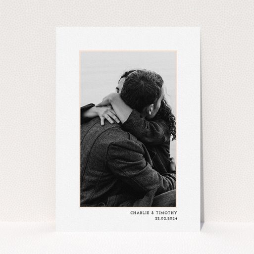 """A personalised wedding invitation design called """"Photo Centre"""". It is an A5 invite in a portrait orientation. It is a photographic personalised wedding invitation with room for 1 photo. """"Photo Centre"""" is available as a flat invite, with tones of white and pink."""