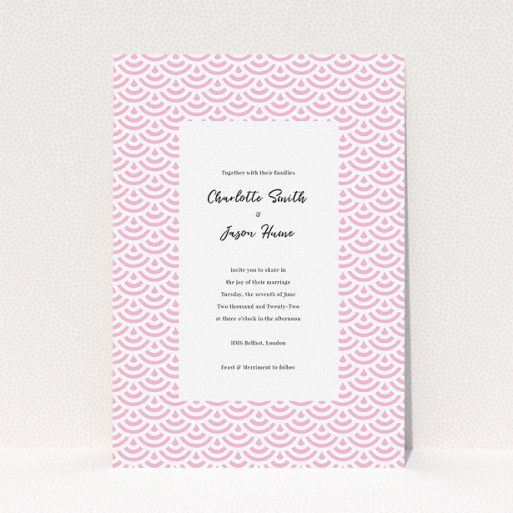 """A personalised wedding invitation named """"Pink Fans"""". It is an A5 invite in a portrait orientation. """"Pink Fans"""" is available as a flat invite, with tones of pink and white."""
