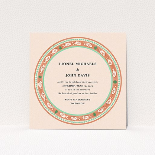 """A personalised wedding invitation design titled """"Positano"""". It is a square (148mm x 148mm) invite in a square orientation. """"Positano"""" is available as a flat invite, with tones of light pink and terracotta."""