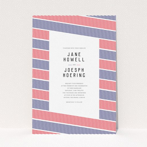 """A personalised wedding invitation design titled """"Preppy Lines"""". It is an A5 invite in a portrait orientation. """"Preppy Lines"""" is available as a flat invite, with tones of red and navy blue."""