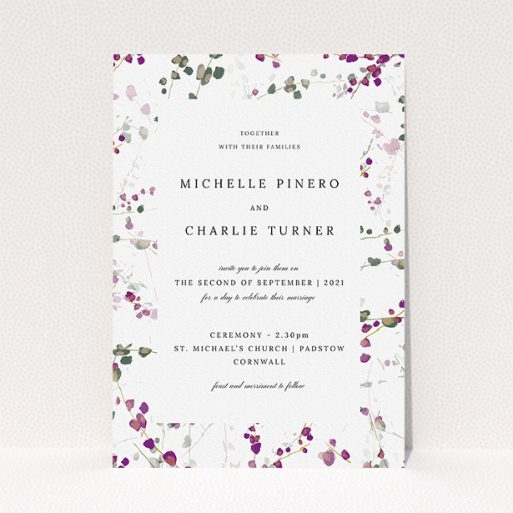 """A personalised wedding invitation called """"Purple Lupine"""". It is an A5 invite in a portrait orientation. """"Purple Lupine"""" is available as a flat invite, with tones of purple, pink and dark green."""