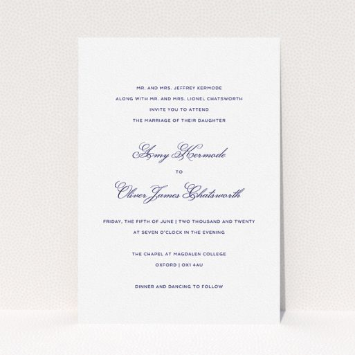"""A personalised wedding invitation design titled """"Right and Proper"""". It is an A5 invite in a portrait orientation. """"Right and Proper"""" is available as a flat invite, with tones of white and navy blue."""