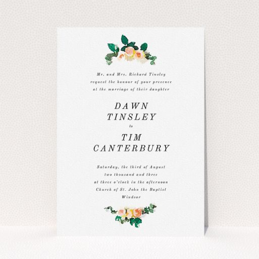 """A personalised wedding invitation design called """"Rose bouquet"""". It is an A5 invite in a portrait orientation. """"Rose bouquet"""" is available as a flat invite, with tones of white and green."""
