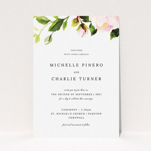 """A personalised wedding invitation design titled """"Rose Roof"""". It is an A5 invite in a portrait orientation. """"Rose Roof"""" is available as a flat invite, with tones of pink and green."""