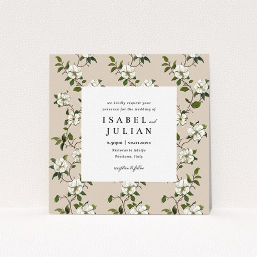 """A personalised wedding invitation called """"Rose Wall"""". It is a square (148mm x 148mm) invite in a square orientation. """"Rose Wall"""" is available as a flat invite, with tones of cream, green and white."""