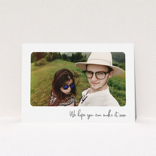 """A personalised wedding invitation template titled """"Rounded Landscape Photo"""". It is an A5 invite in a landscape orientation. It is a photographic personalised wedding invitation with room for 1 photo. """"Rounded Landscape Photo"""" is available as a flat invite, with mainly white colouring."""
