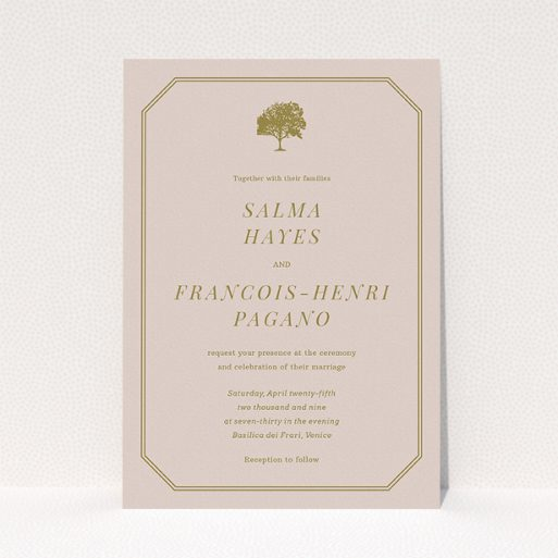 """A personalised wedding invitation design titled """"Royal oak"""". It is an A5 invite in a portrait orientation. """"Royal oak"""" is available as a flat invite, with mainly dark cream colouring."""