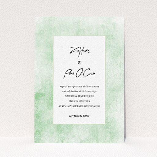 """A personalised wedding invitation design named """"Rustic Green"""". It is an A6 invite in a portrait orientation. """"Rustic Green"""" is available as a flat invite, with tones of green and white."""