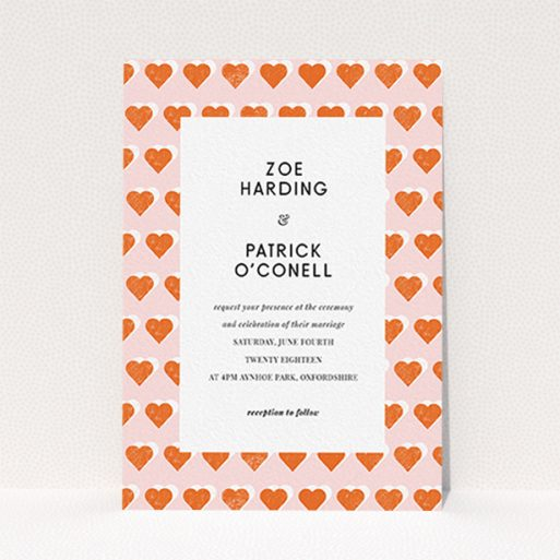 """A personalised wedding invitation design called """"Rustic Hearts"""". It is an A6 invite in a portrait orientation. """"Rustic Hearts"""" is available as a flat invite, with tones of pink and orange."""