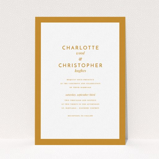"""A personalised wedding invitation named """"Script switch"""". It is an A5 invite in a portrait orientation. """"Script switch"""" is available as a flat invite, with tones of orange and white."""