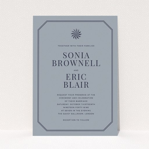 """A personalised wedding invitation called """"Shaded sundial"""". It is an A5 invite in a portrait orientation. """"Shaded sundial"""" is available as a flat invite, with tones of dark grey and navy blue."""