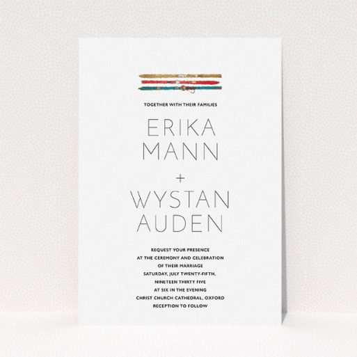 """A personalised wedding invitation template titled """"Ski pass"""". It is an A5 invite in a portrait orientation. """"Ski pass"""" is available as a flat invite, with tones of white and blue."""