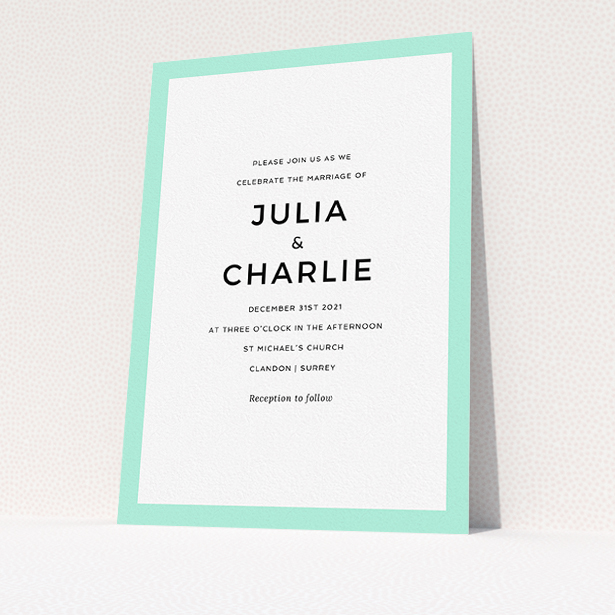 """A personalised wedding invitation design named """"Slight Frame"""". It is an A5 invite in a portrait orientation. """"Slight Frame"""" is available as a flat invite, with tones of green and white."""