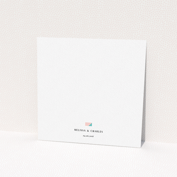 """A personalised wedding invitation design called """"Sloane Squares"""". It is a square (148mm x 148mm) invite in a square orientation. """"Sloane Squares"""" is available as a flat invite, with mainly orange colouring."""