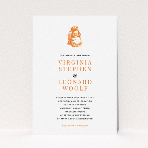"""A personalised wedding invitation named """"Spiritual orange"""". It is an A5 invite in a portrait orientation. """"Spiritual orange"""" is available as a flat invite, with tones of white and orange."""