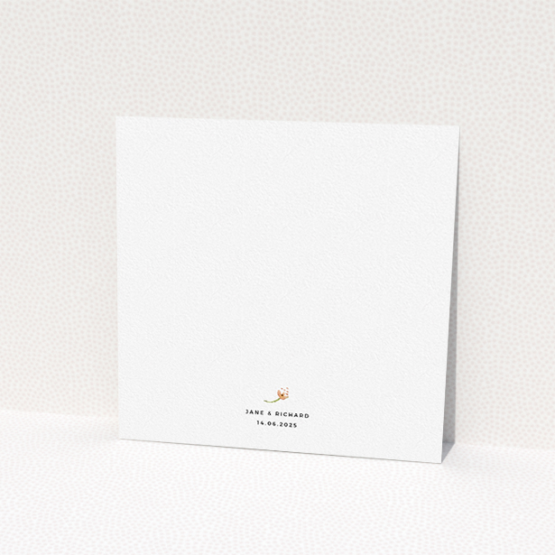 """A personalised wedding invitation named """"Spring Florist"""". It is a square (148mm x 148mm) invite in a square orientation. """"Spring Florist"""" is available as a flat invite, with tones of light green and orange."""