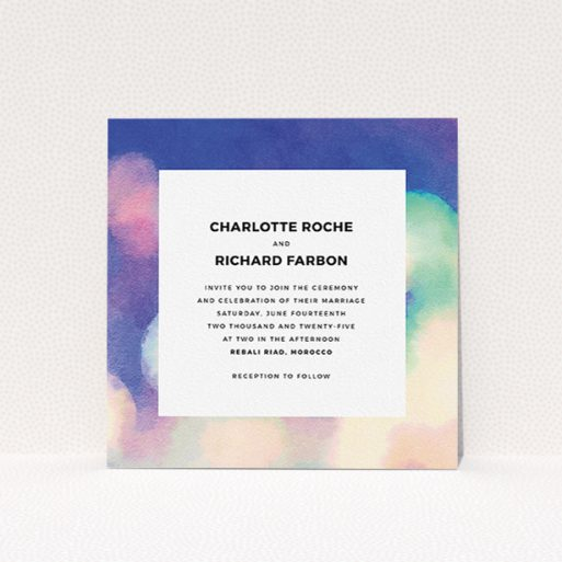 """A personalised wedding invitation named """"Street lights"""". It is a square (148mm x 148mm) invite in a square orientation. """"Street lights"""" is available as a flat invite, with tones of blue, cream and light green."""
