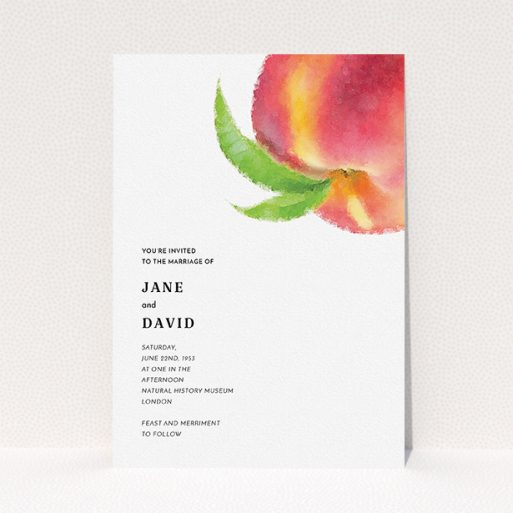 """A personalised wedding invitation named """"Summer peach"""". It is an A5 invite in a portrait orientation. """"Summer peach"""" is available as a flat invite, with tones of white, orange and green."""