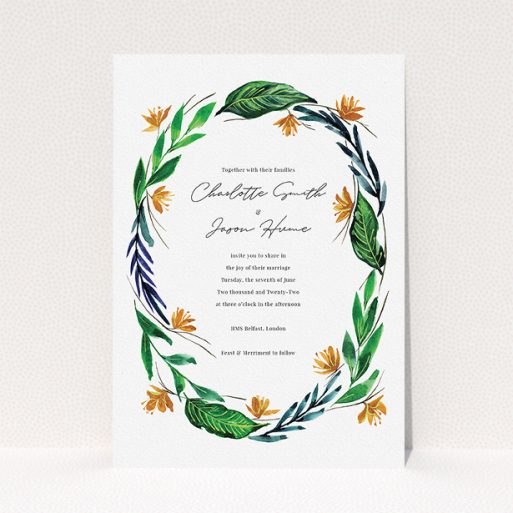 """A personalised wedding invitation named """"Summer Whirl Wreath"""". It is an A5 invite in a portrait orientation. """"Summer Whirl Wreath"""" is available as a flat invite, with tones of green, dark blue and orange."""