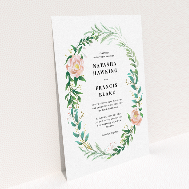 """A personalised wedding invitation design called """"Summer Wreath Portrait"""". It is an A5 invite in a portrait orientation. """"Summer Wreath Portrait"""" is available as a flat invite, with tones of white, light green and pink."""