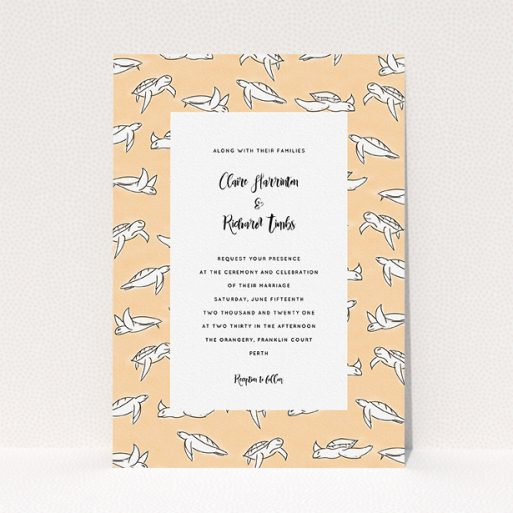 """A personalised wedding invitation called """"Sunset Turtles"""". It is an A5 invite in a portrait orientation. """"Sunset Turtles"""" is available as a flat invite, with tones of faded orange and white."""