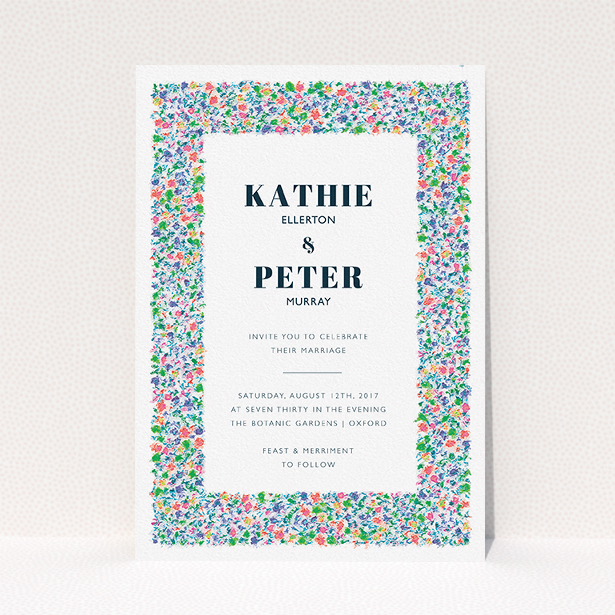 """A personalised wedding invitation called """"The faraway garden"""". It is an A5 invite in a portrait orientation. """"The faraway garden"""" is available as a flat invite, with tones of white, blue and green."""