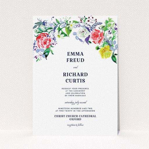 """A personalised wedding invitation named """"The flowerbed"""". It is an A5 invite in a portrait orientation. """"The flowerbed"""" is available as a flat invite, with mainly green colouring."""
