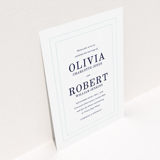 """A personalised wedding invitation template titled """"Thick White and Blue"""". It is an A5 invite in a portrait orientation. """"Thick White and Blue"""" is available as a flat invite, with tones of blue and white."""