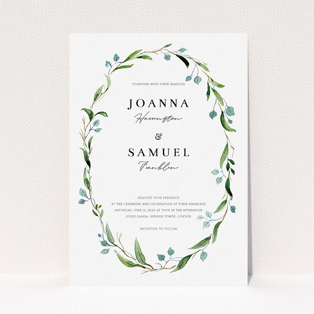 """A personalised wedding invitation named """"Thin Watercolour Wreath"""". It is an A5 invite in a portrait orientation. """"Thin Watercolour Wreath"""" is available as a flat invite, with tones of blue and green."""