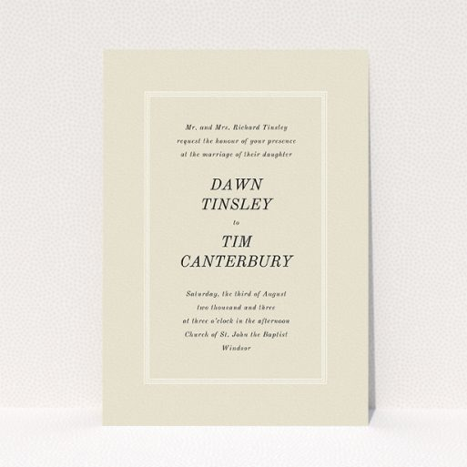 """A personalised wedding invitation design titled """"Three line border"""". It is an A5 invite in a portrait orientation. """"Three line border"""" is available as a flat invite, with mainly dark cream colouring."""