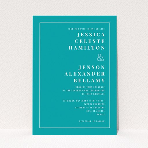 """A personalised wedding invitation design named """"To the right"""". It is an A5 invite in a portrait orientation. """"To the right"""" is available as a flat invite, with tones of green and white."""