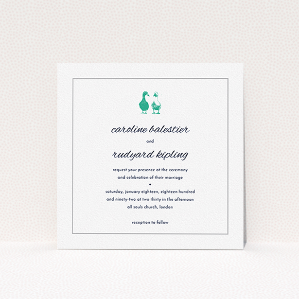 """A personalised wedding invitation design called """"Two little ducks"""". It is a square (148mm x 148mm) invite in a square orientation. """"Two little ducks"""" is available as a flat invite, with tones of white and green."""
