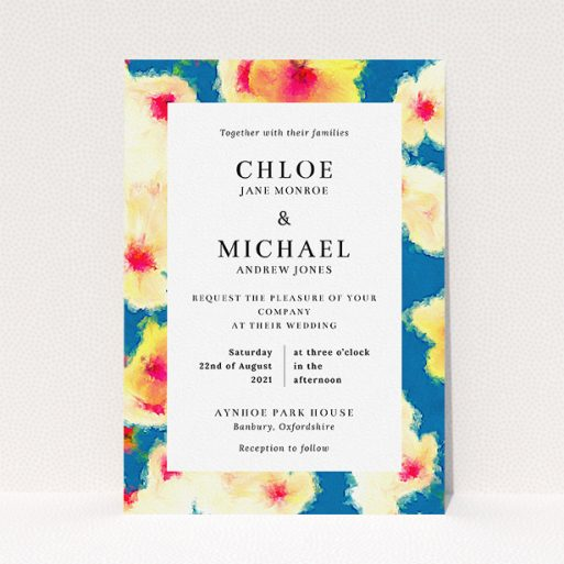 """A personalised wedding invitation template titled """"Water Garden"""". It is an A5 invite in a portrait orientation. """"Water Garden"""" is available as a flat invite, with tones of orange, blue and yellow."""