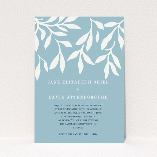 """A personalised wedding invitation called """"Winter bloom"""". It is an A5 invite in a portrait orientation. """"Winter bloom"""" is available as a flat invite, with tones of blue and white."""